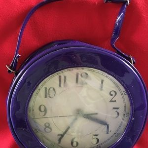 Handbags - Vintage Purple Vinyl Clock Purse